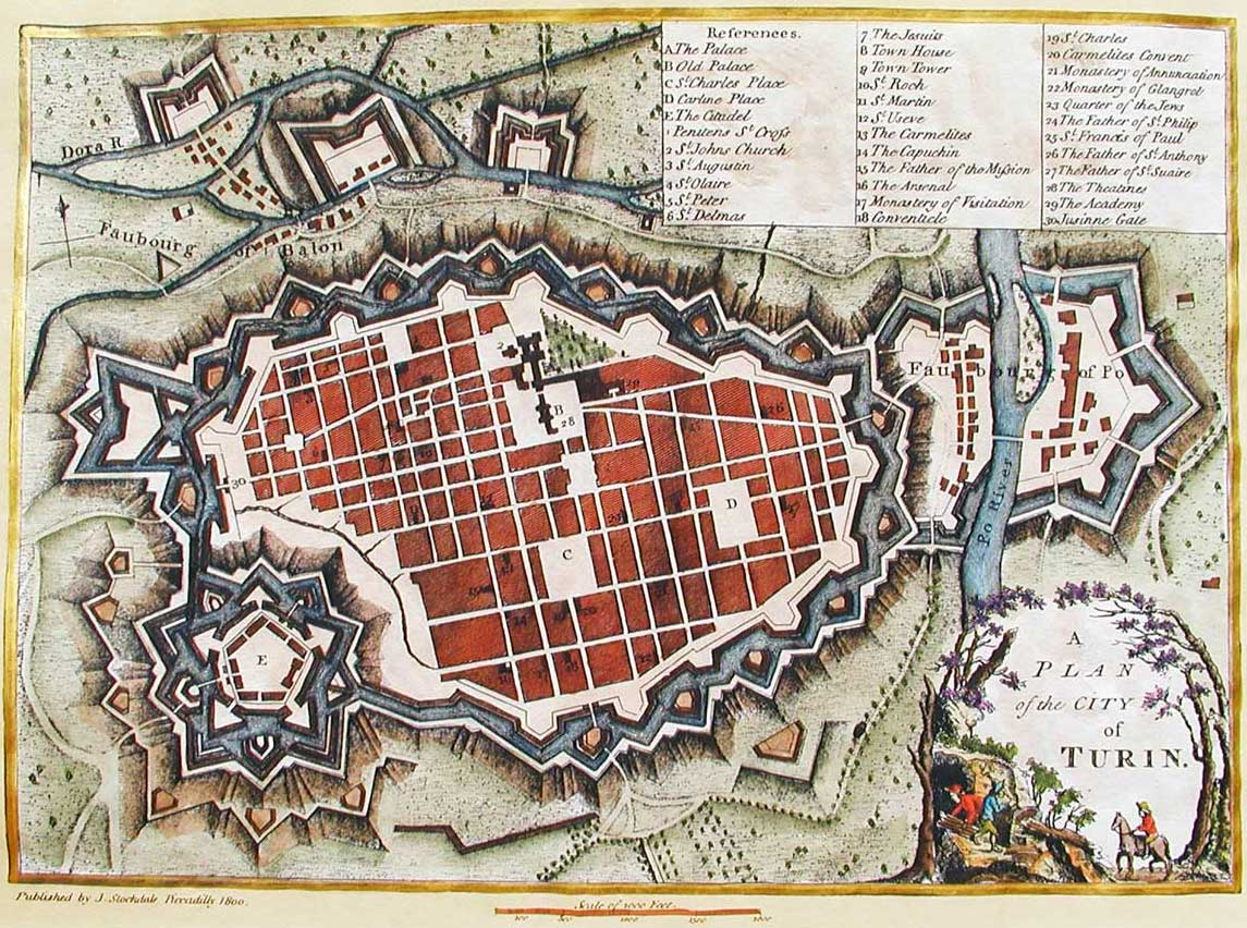 Historical City Map Turin (torino) large map