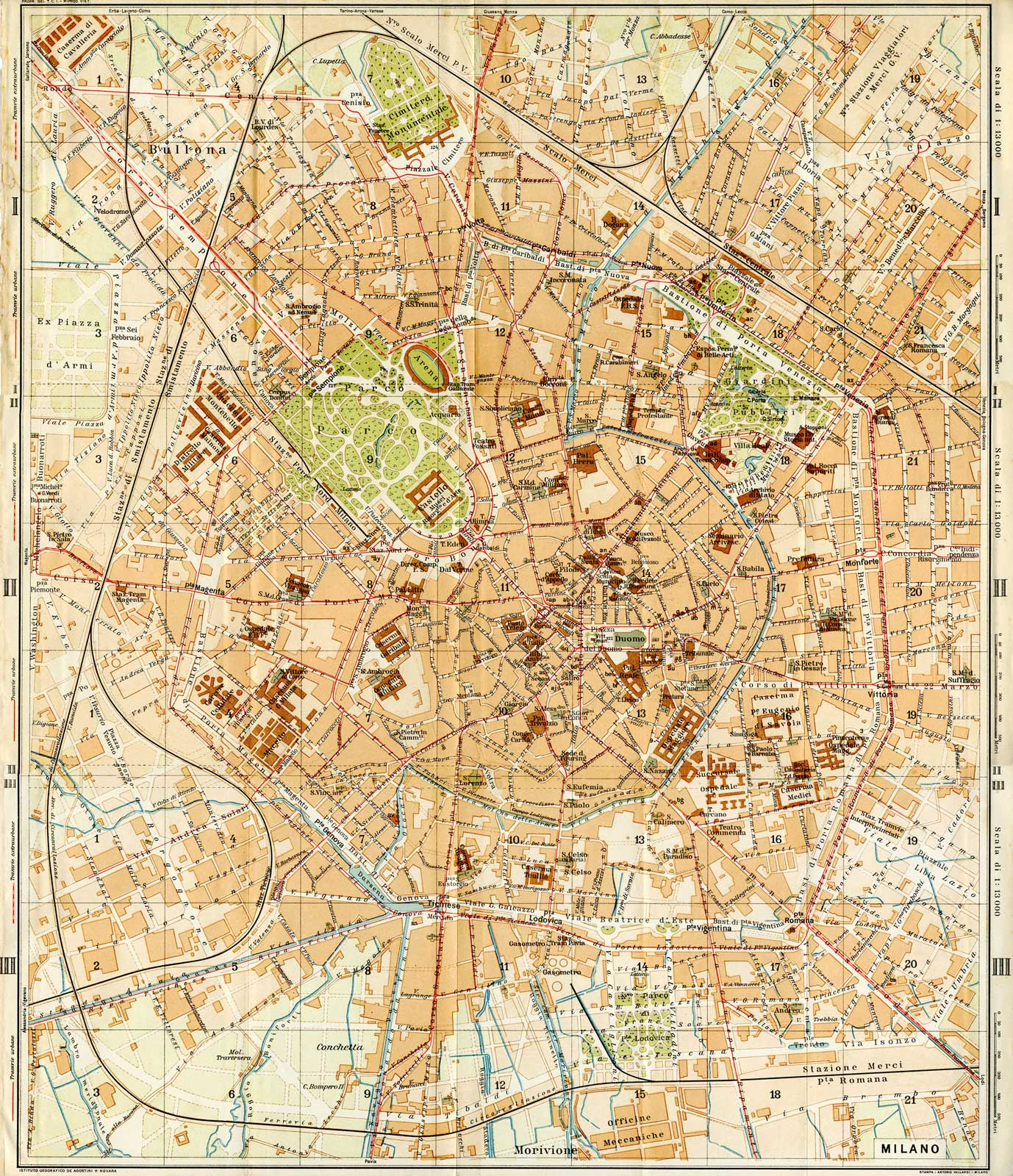 Historical City Map of Milan Mapsofnet – Milan Tourist Map