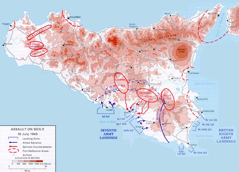 Historical Invasion Map of Sicily large map