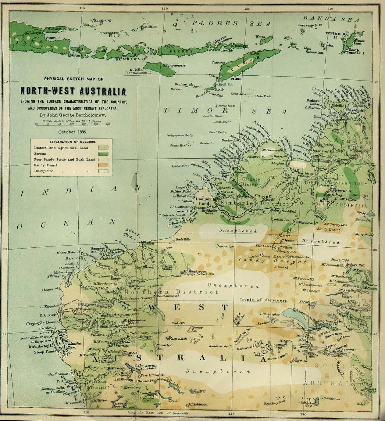 Historical Map Australia Northwest (1885) large map