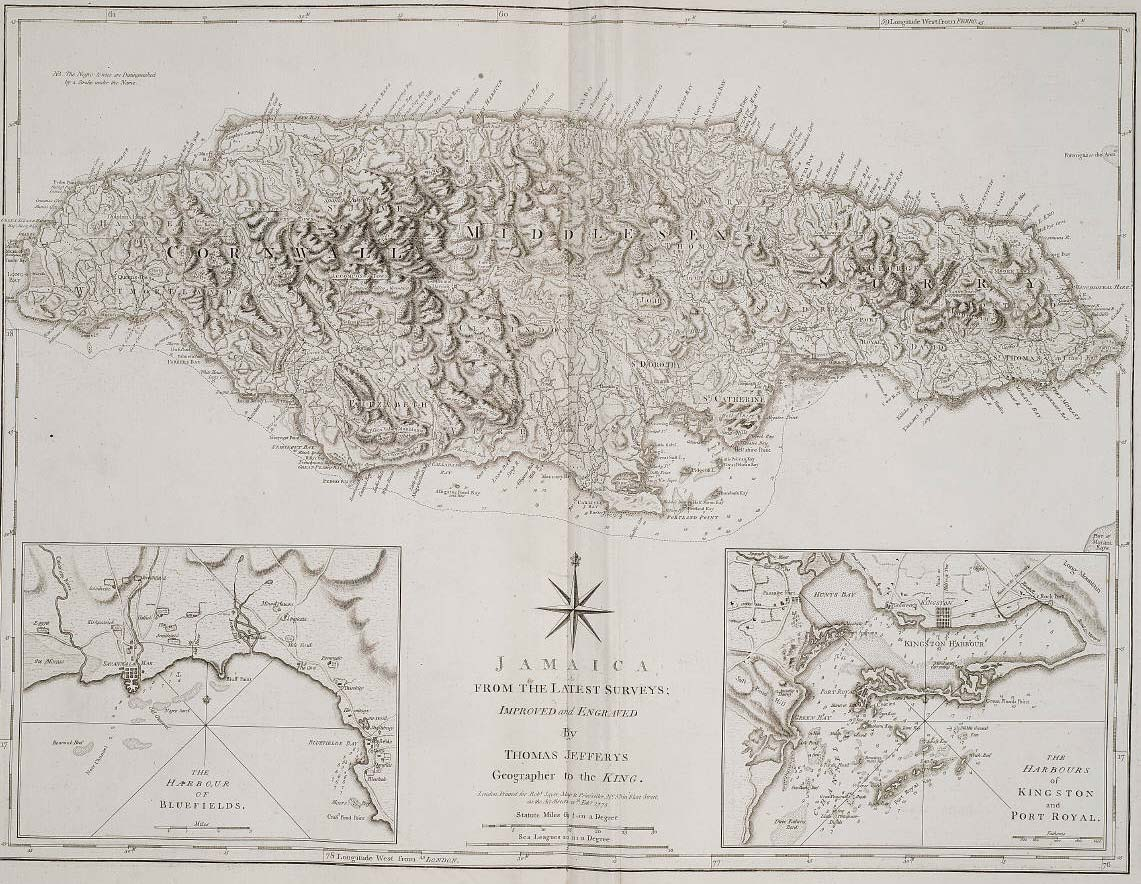Historical Map Jamaica large map