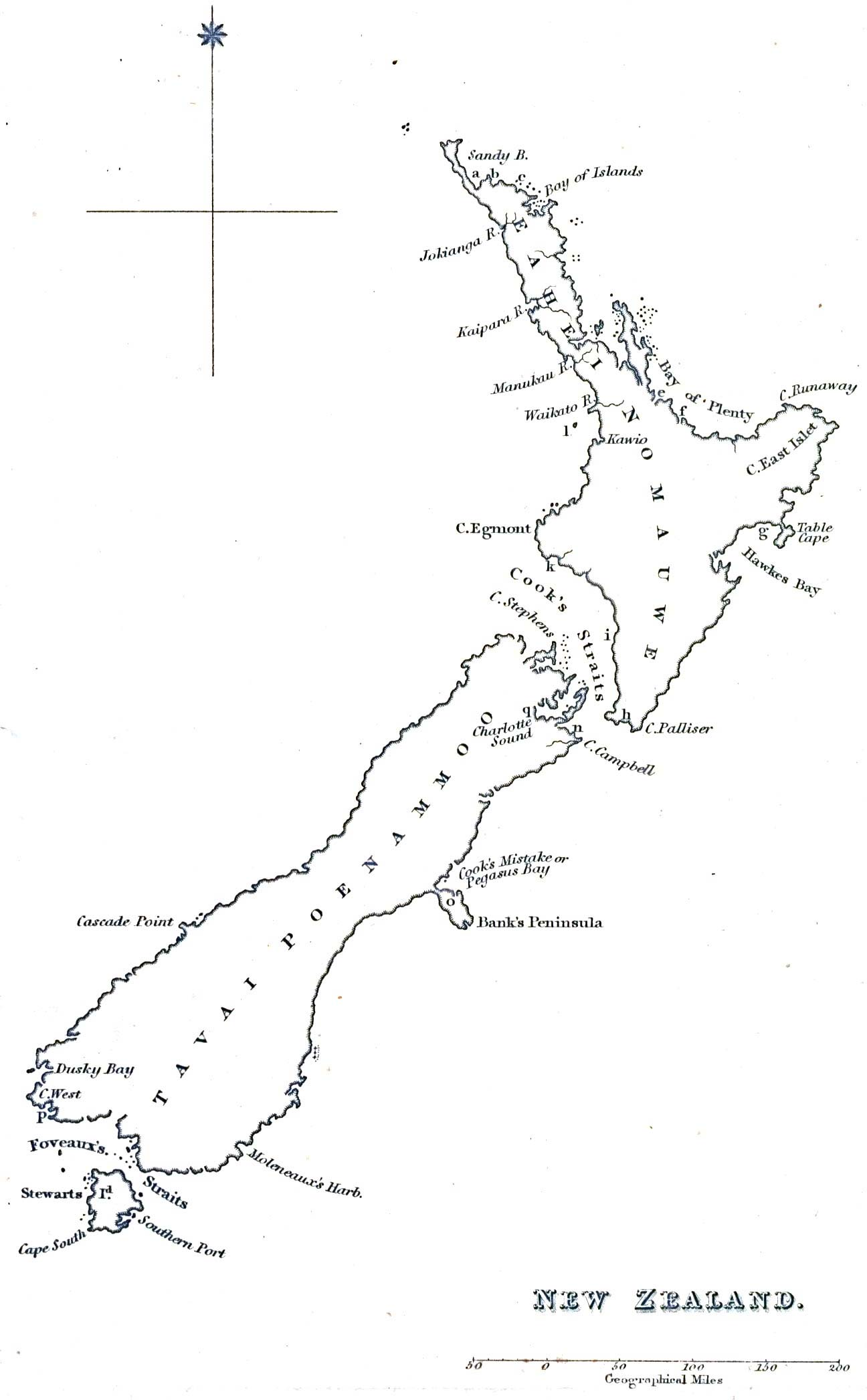 Historical Map New Zealand (1832)