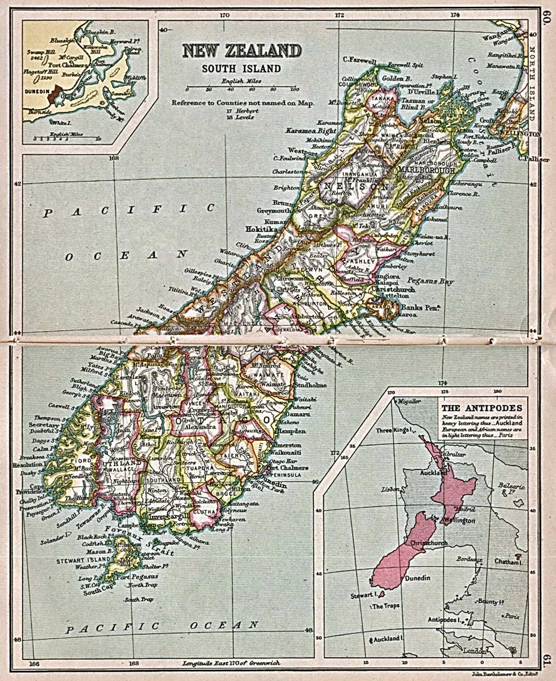 Historical Map New Zealand South Island (1913)