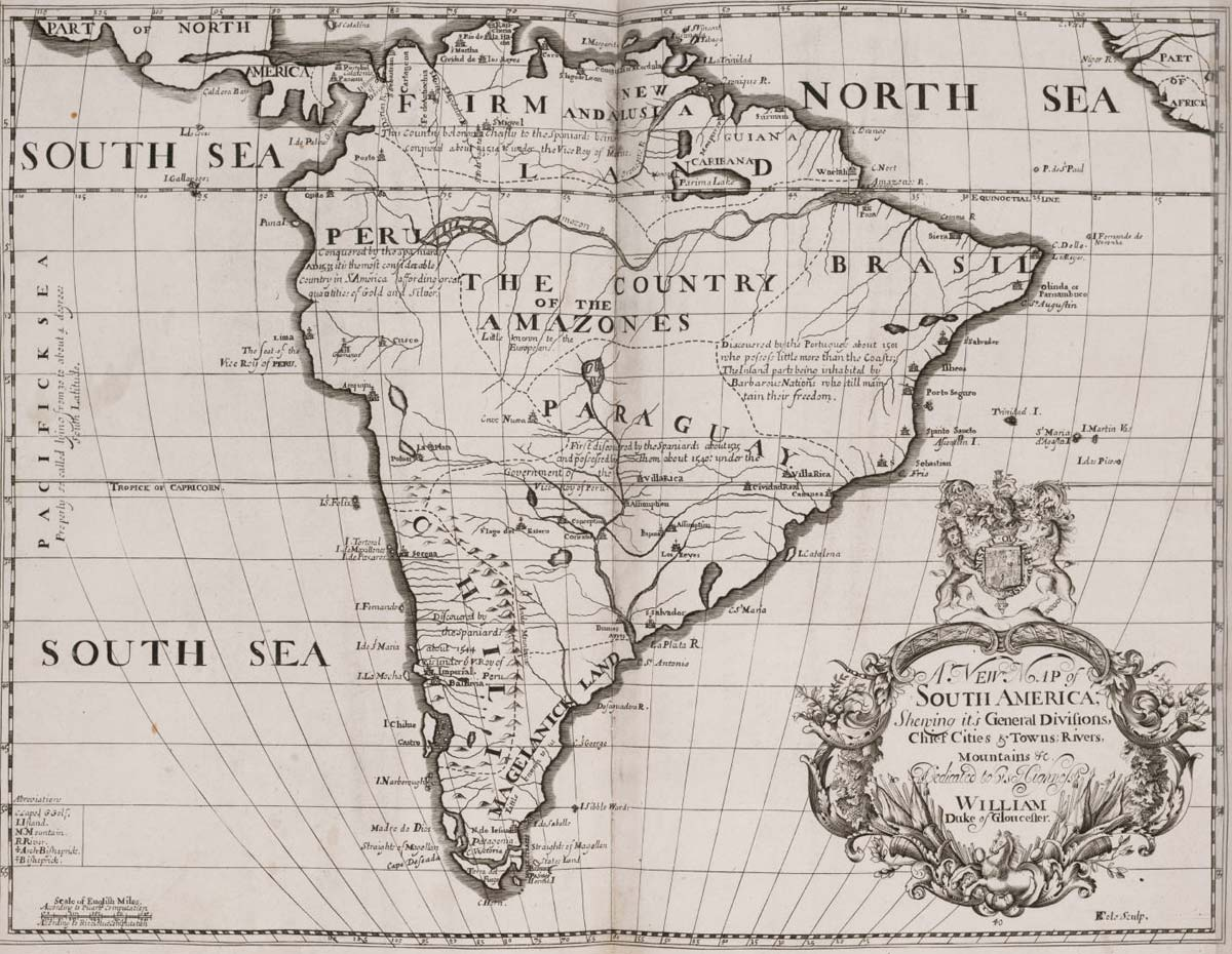 Historical Map South America (1704) large map