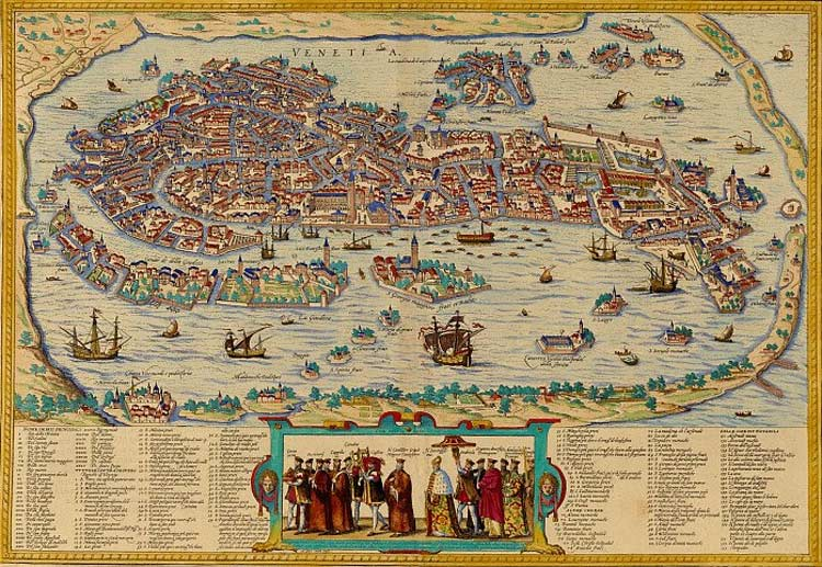 Historical Map Venice (venezia) large map