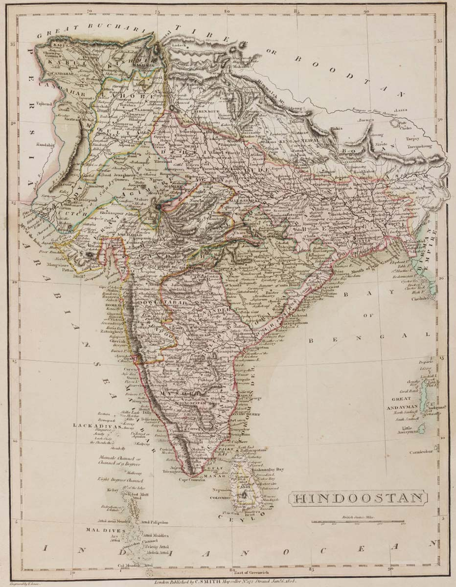 Historical Map India (1808) large map