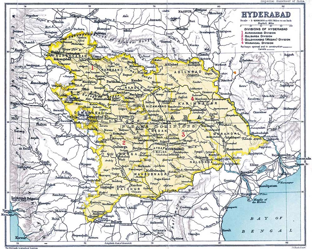 Historical Map of Hyderabad large map