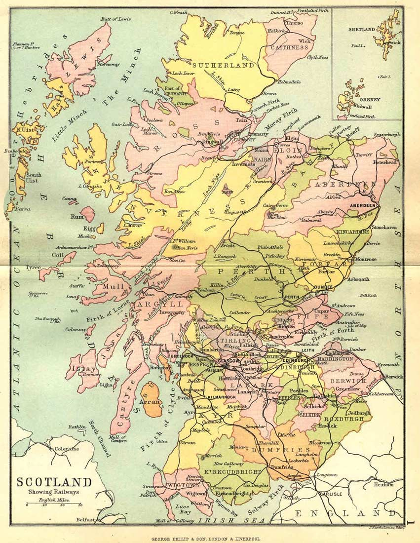 Historical Map of Scotland large map