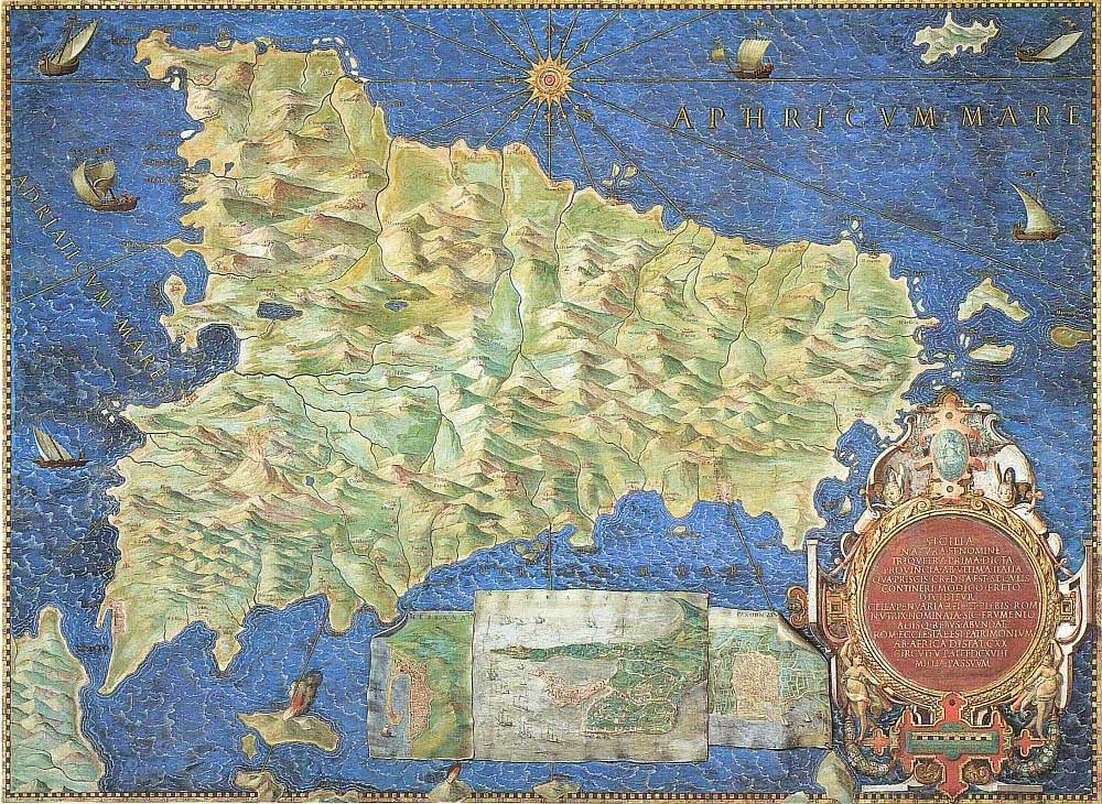 Historical Map of Sicily large map