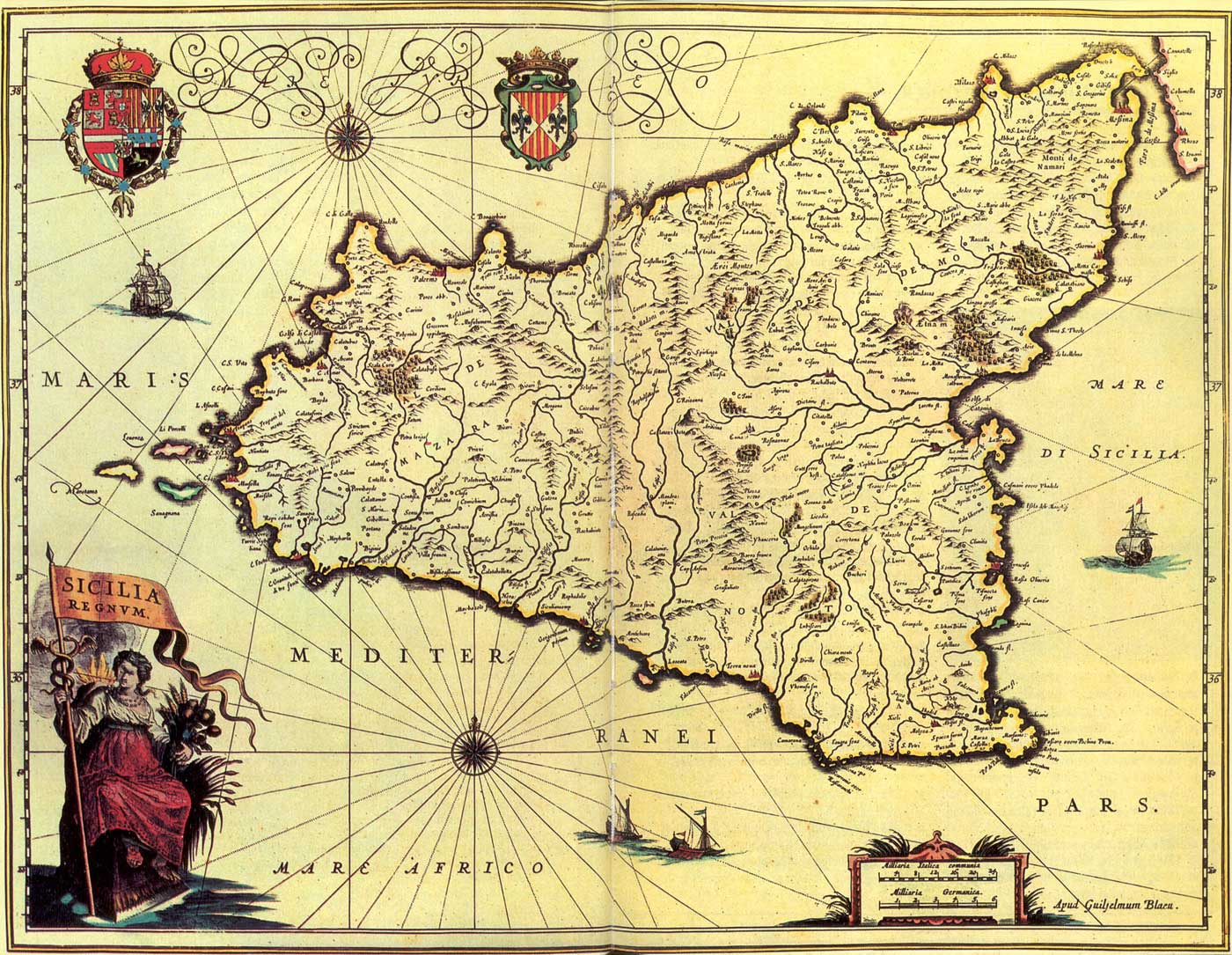 Historical Map of Sicily (1571 1638) large map
