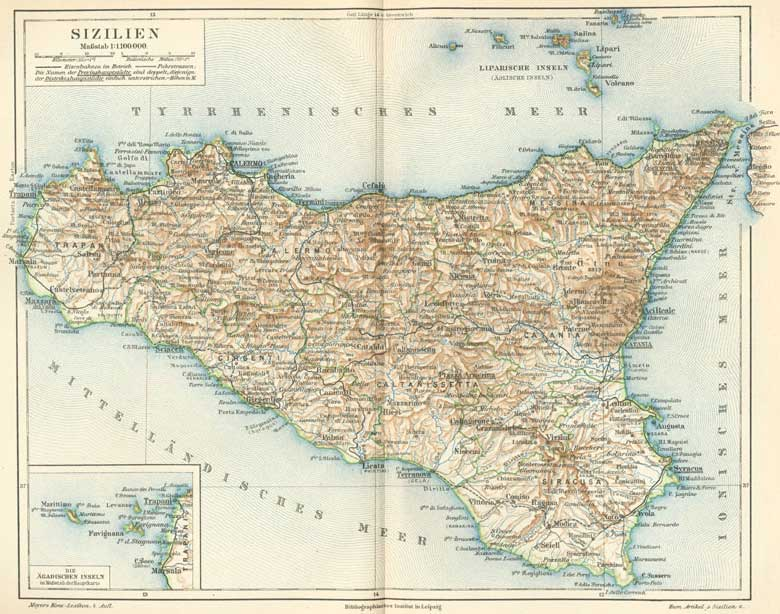 Historical Map of Sicily (1888) large map