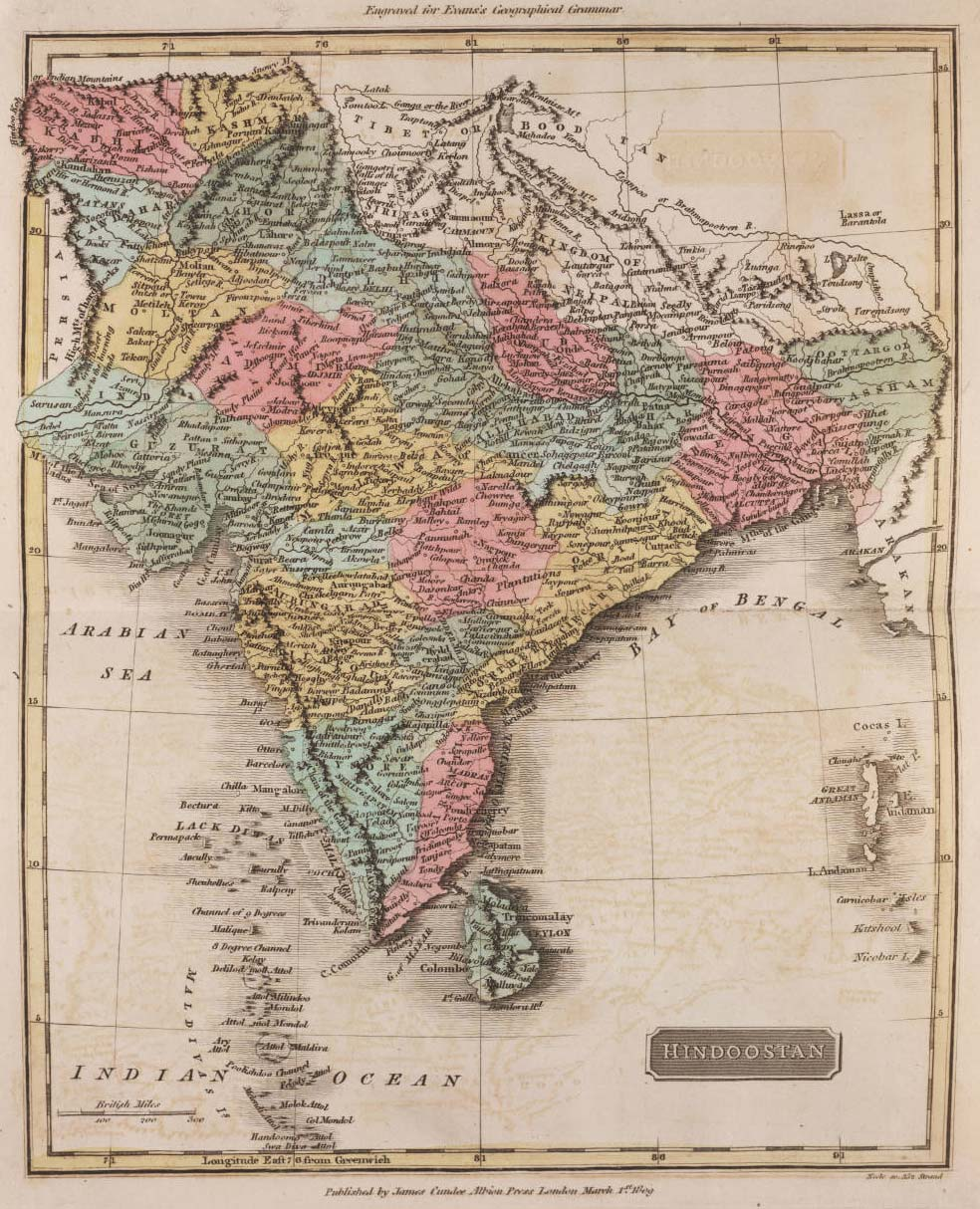 Historical Map of India (1809) large map