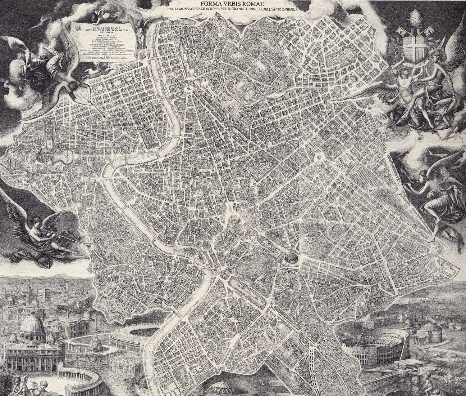 Historical Rome City Map large map