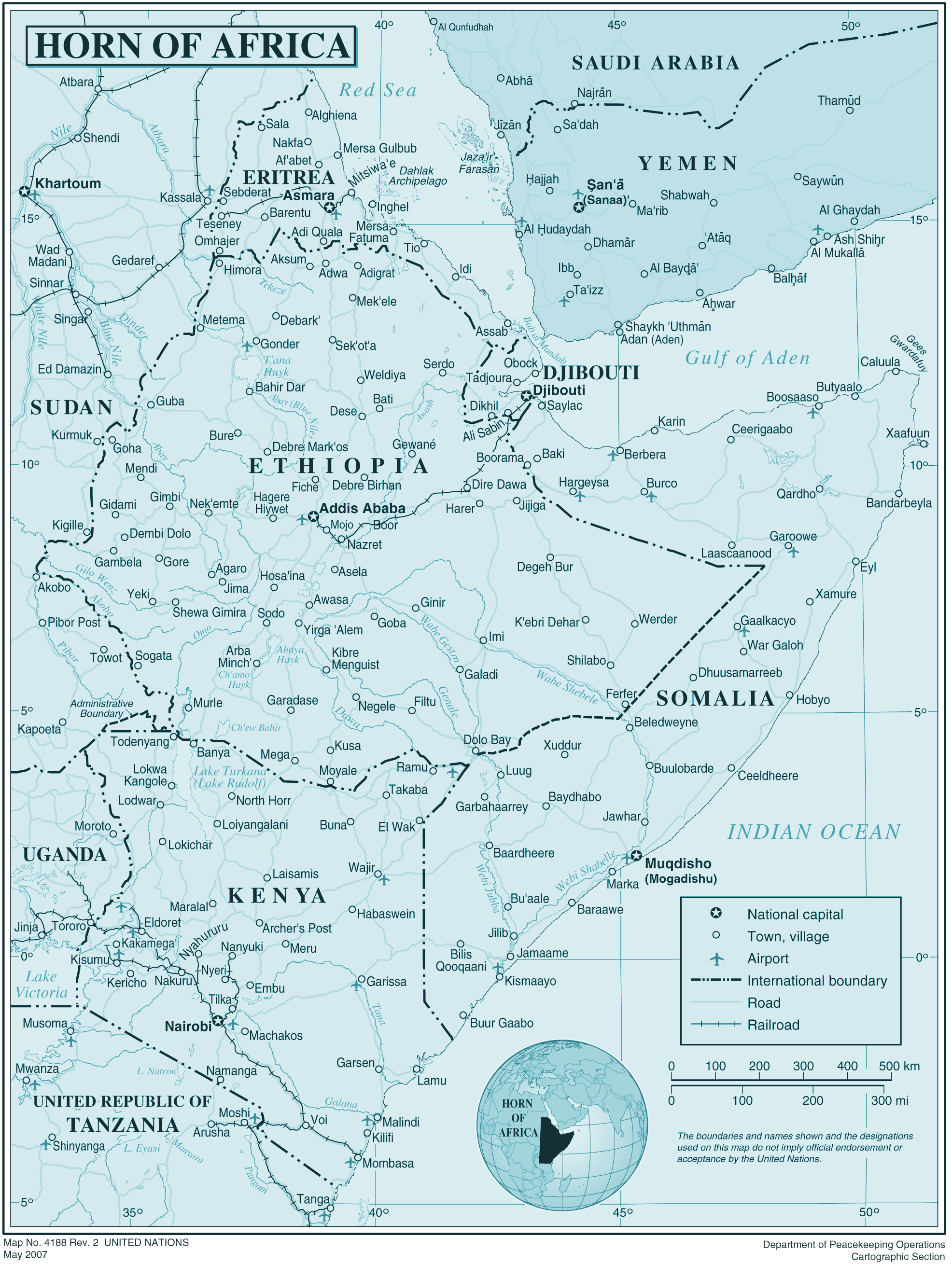 Horn of Africa large map