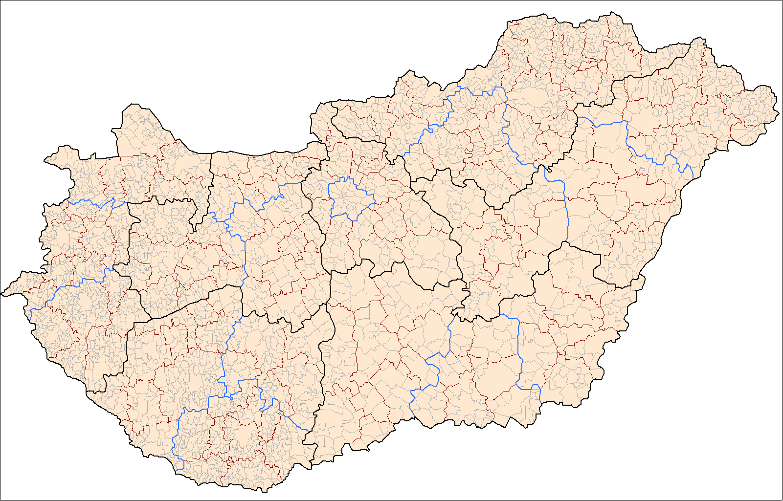 Hungary Administrative Divisions Mapsofnet
