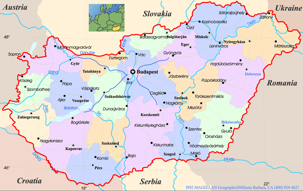 political map of romania. Hungary Political Map