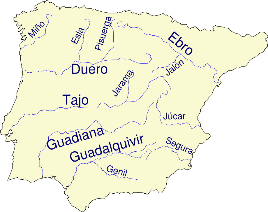 Map Of Spain Rivers.Iberian Peninsula Base Map With Rivers And Names Mapsof Net