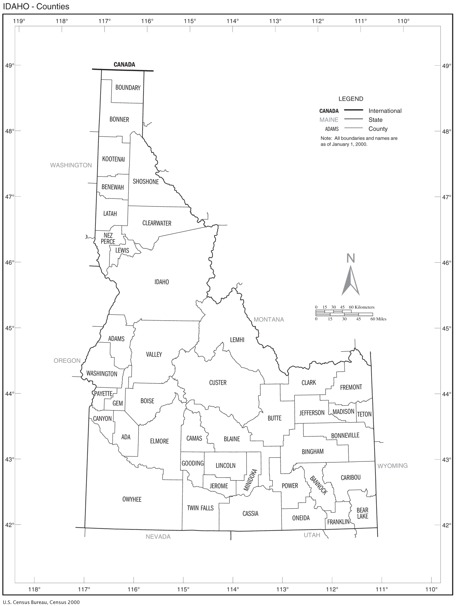 Idaho Counties Map large map