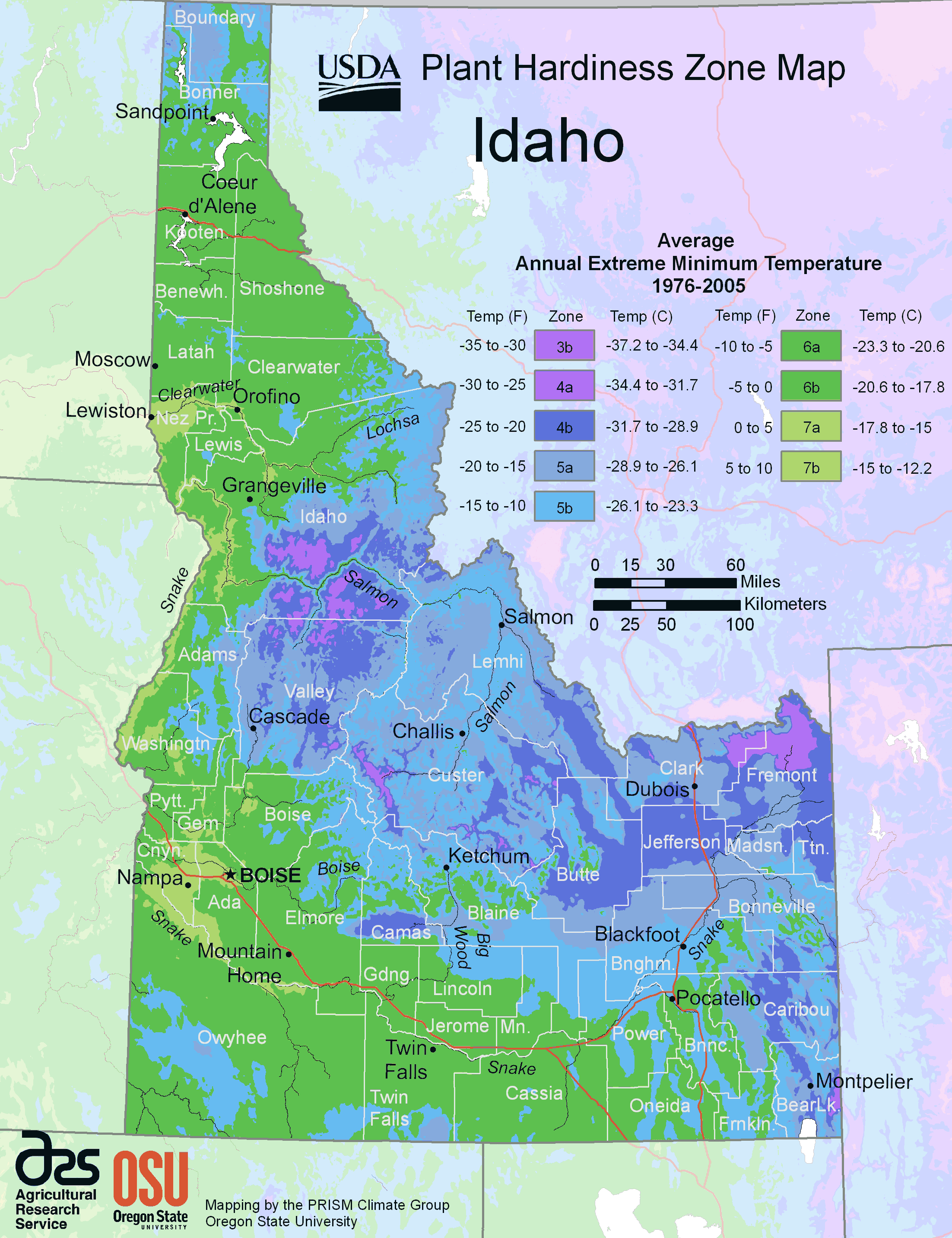 Idaho Plant Hardiness Zone Map Mapsofnet - Physical map of idaho