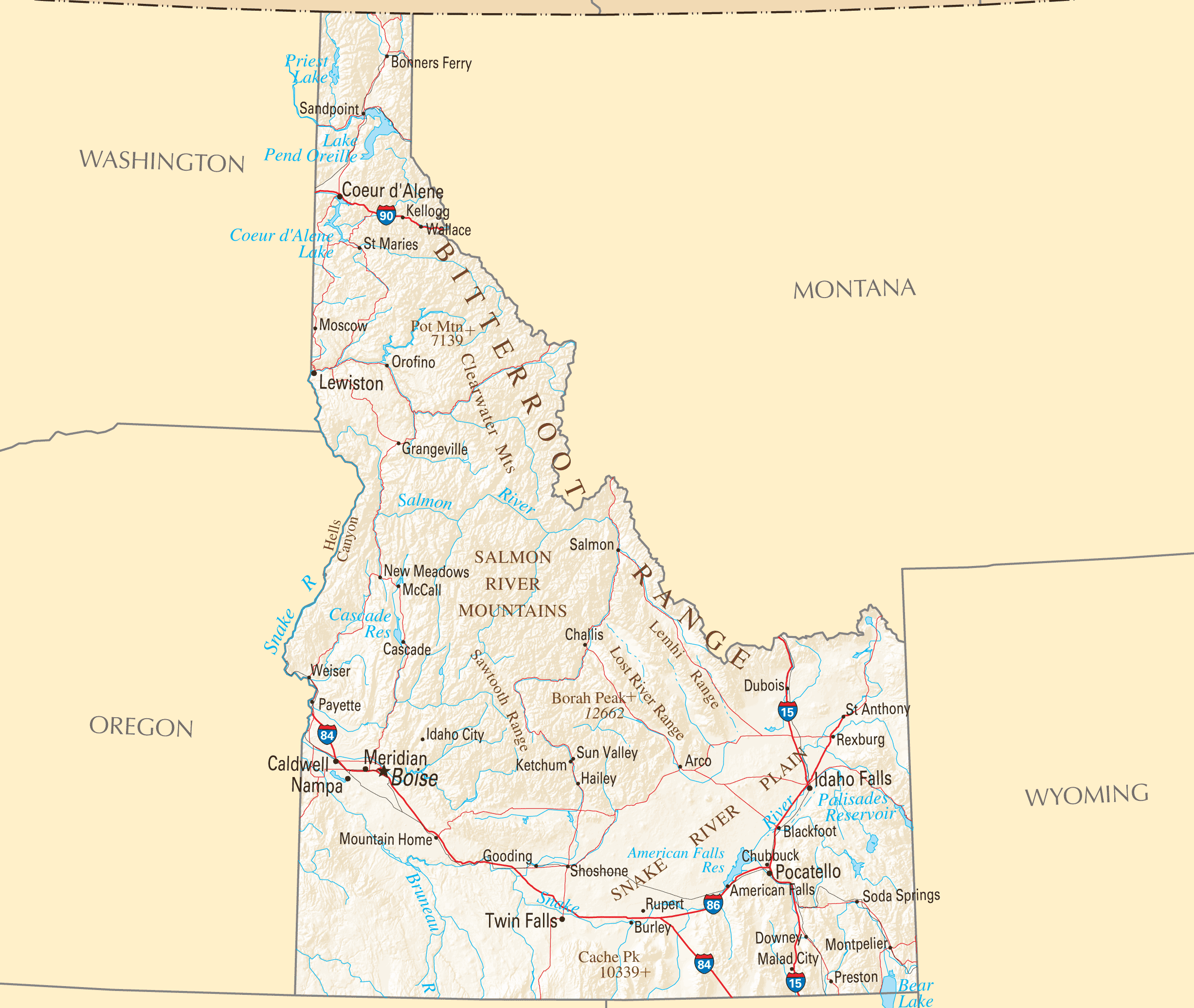 Idaho Reference Map • Mapsof.net