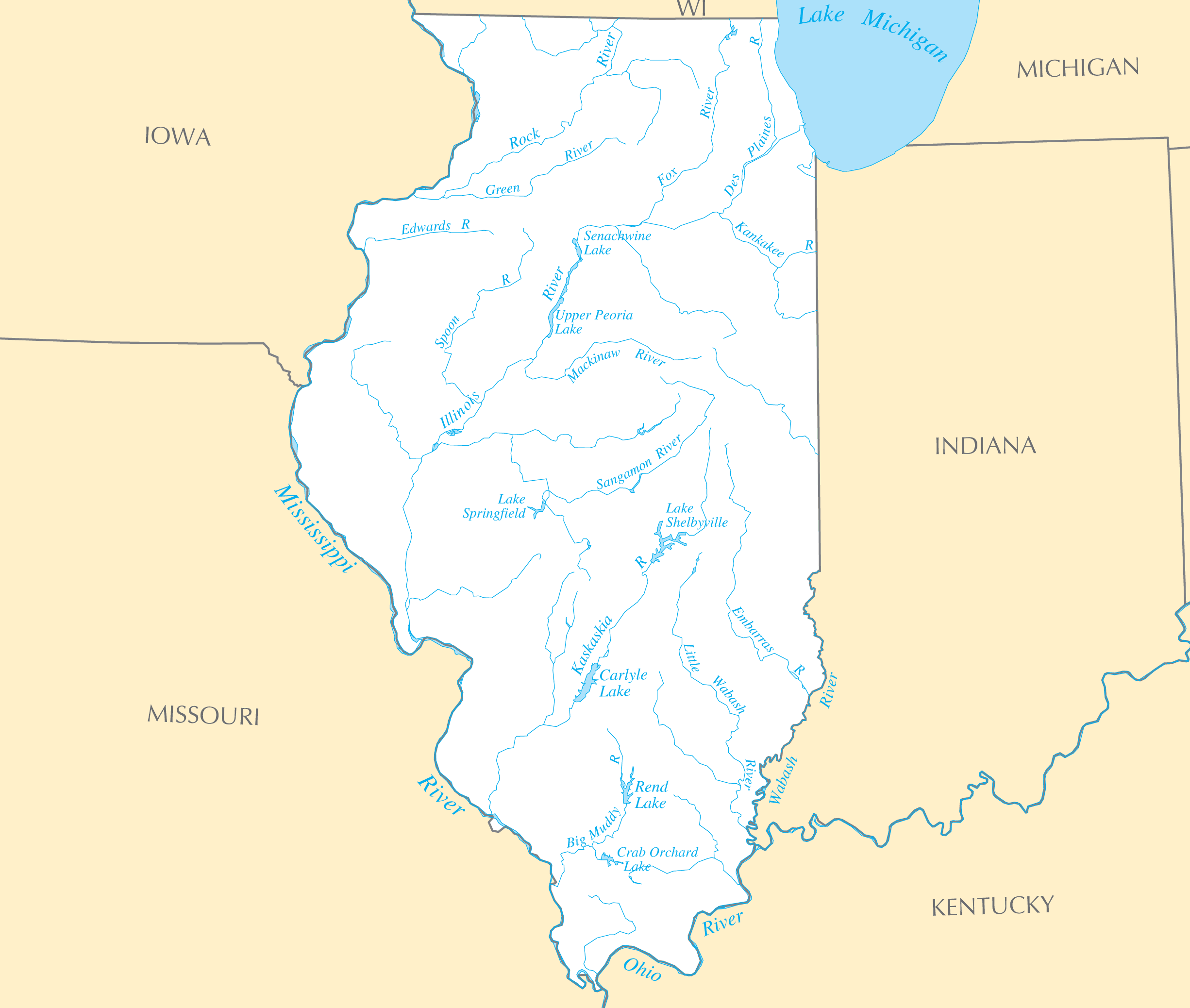 Illinois Rivers And Lakes large map
