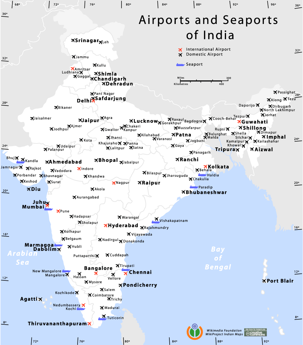 India Airports And Seaports Map large map