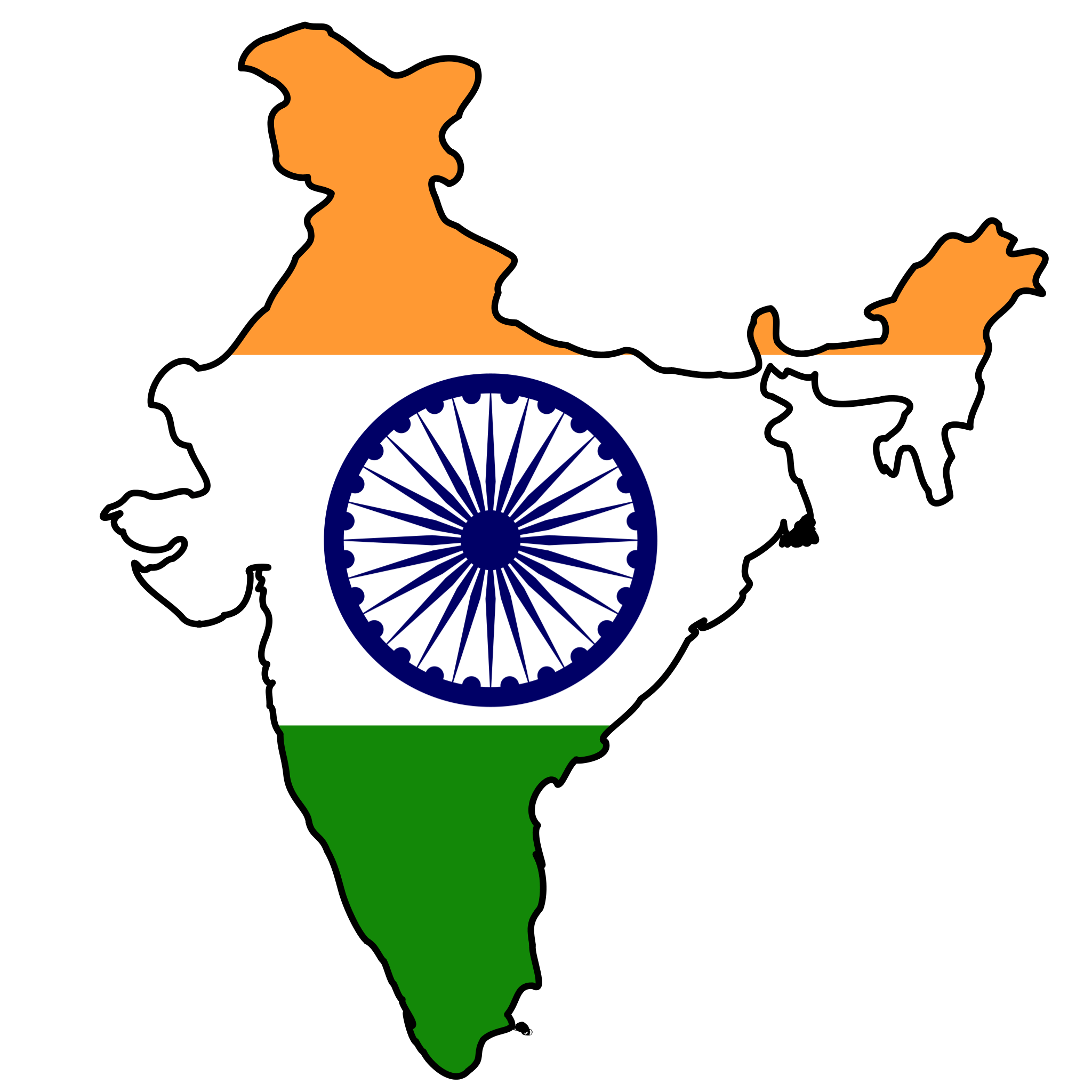 India Flag Map large map