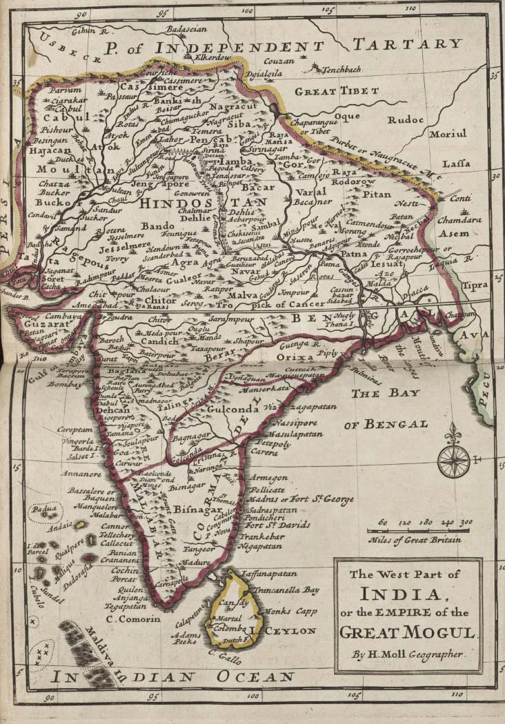 India Historical Map (mogul) large map