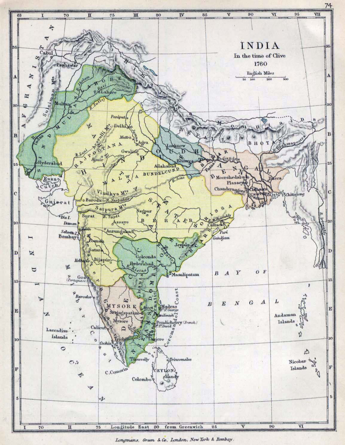 India Map 1760 large map