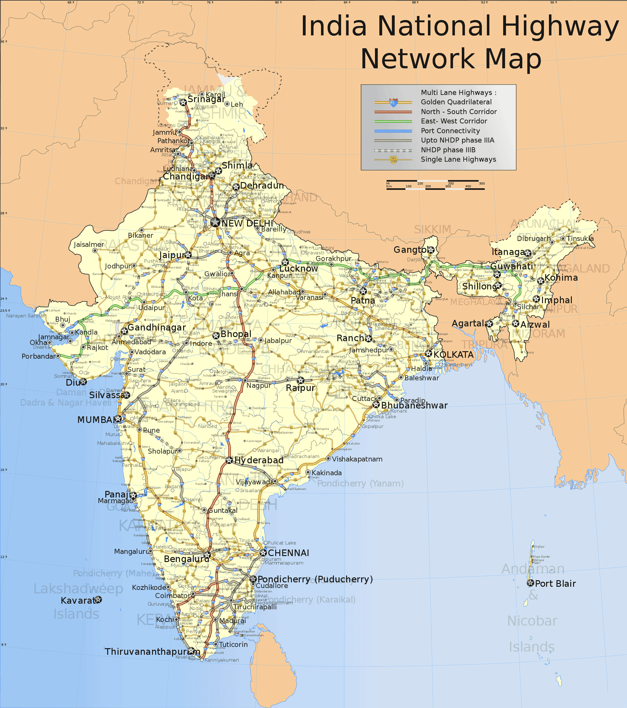 India National Roads Map large map