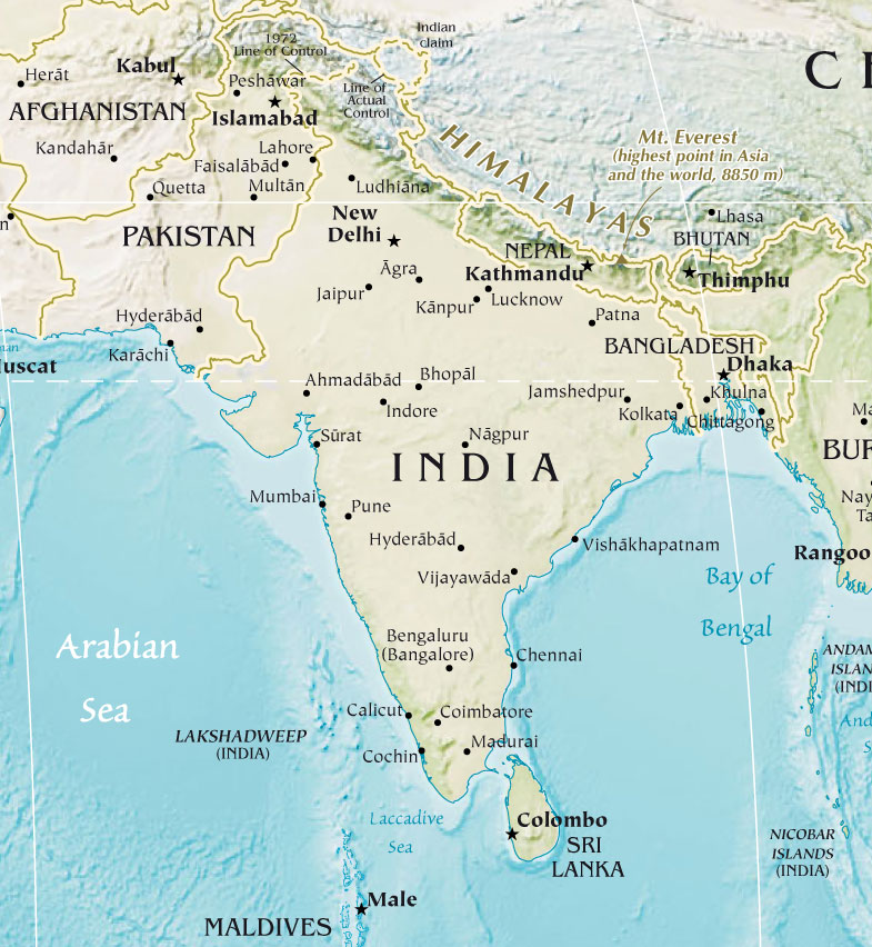 India Pakistan Physical Map - india maps