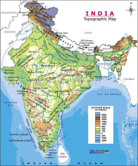 India Physical large map