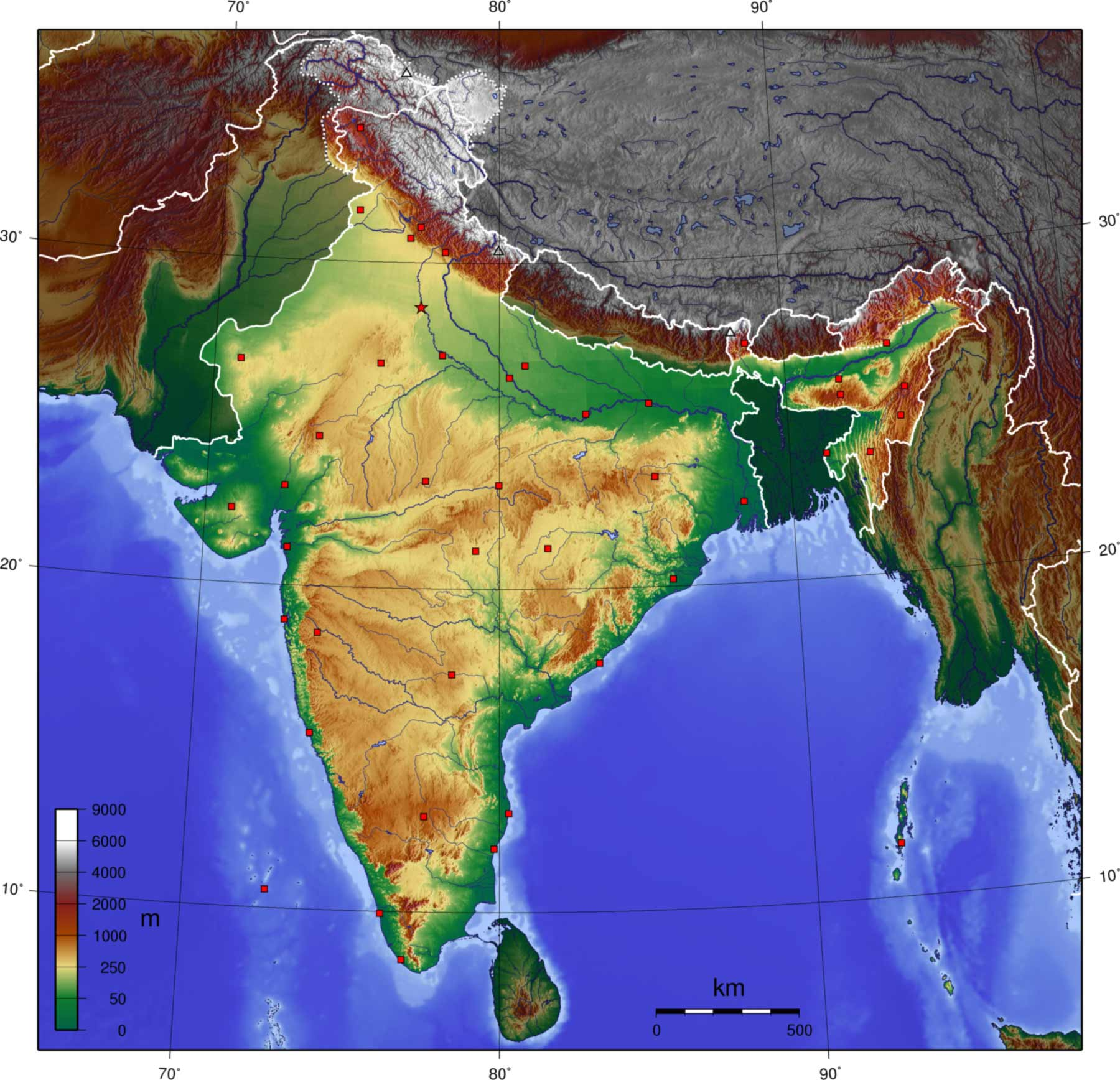 India Topo Blank large map