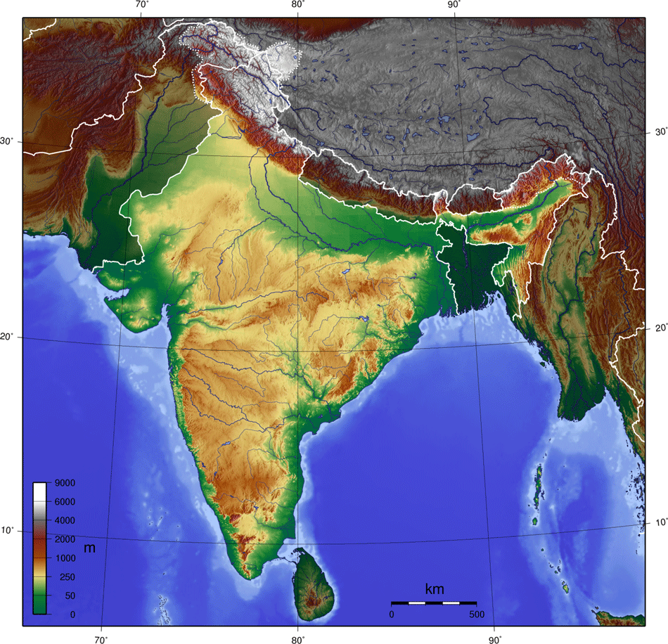 India Topo Blank 1 large map