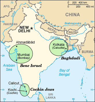 Indian Jews Communities Map large map