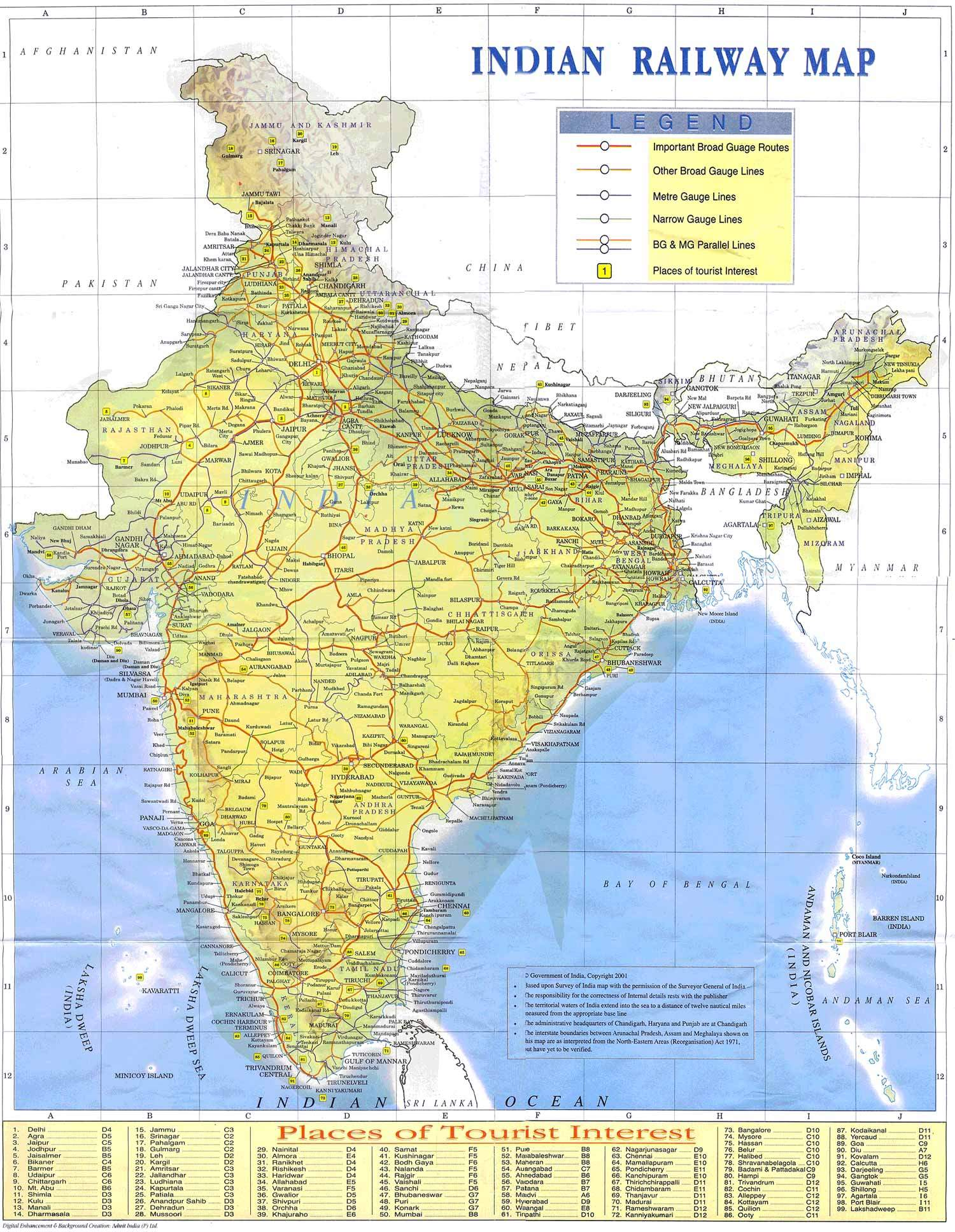 Indian Railways Map large map
