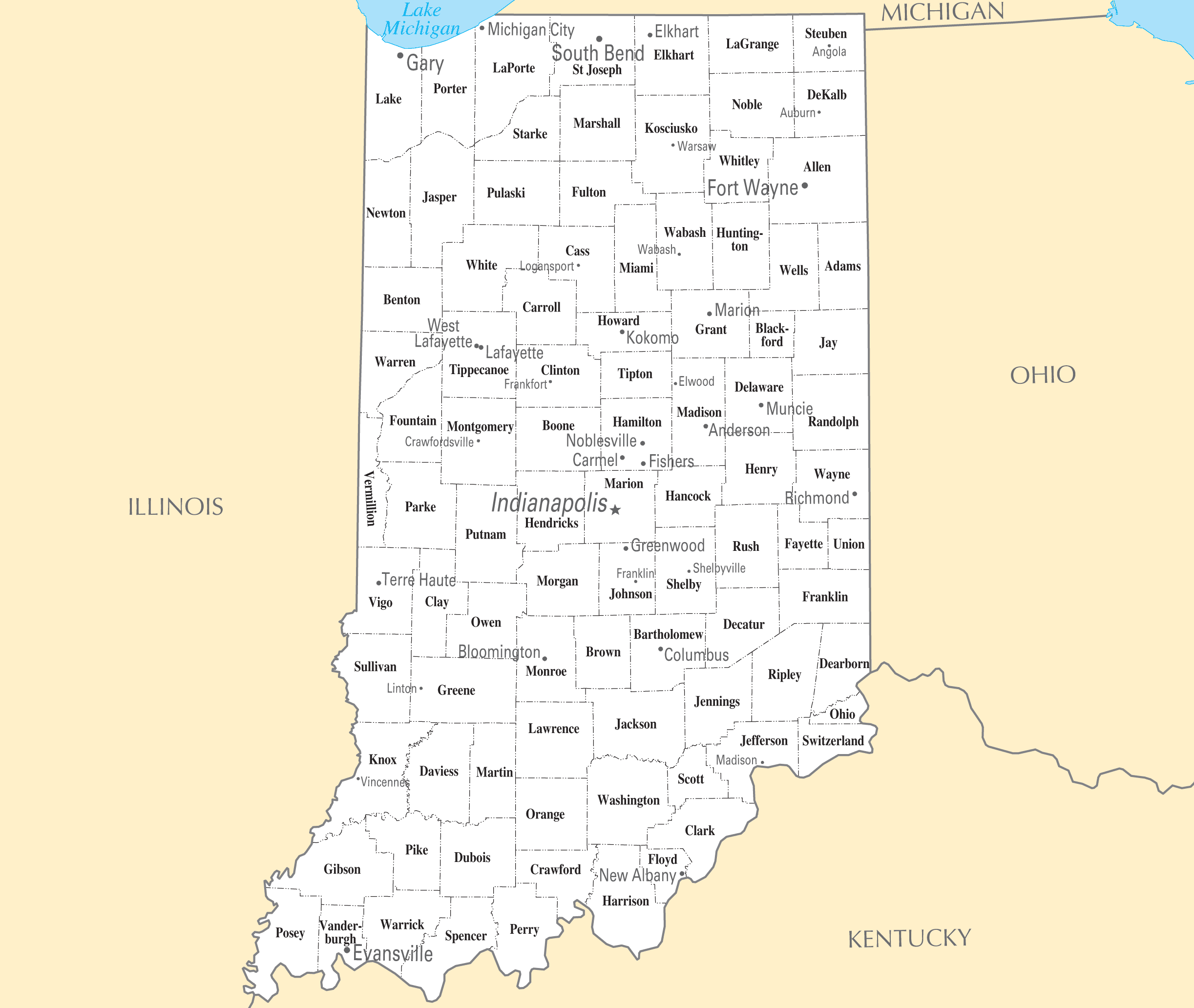 Indiana Cities And Towns  Mapsof