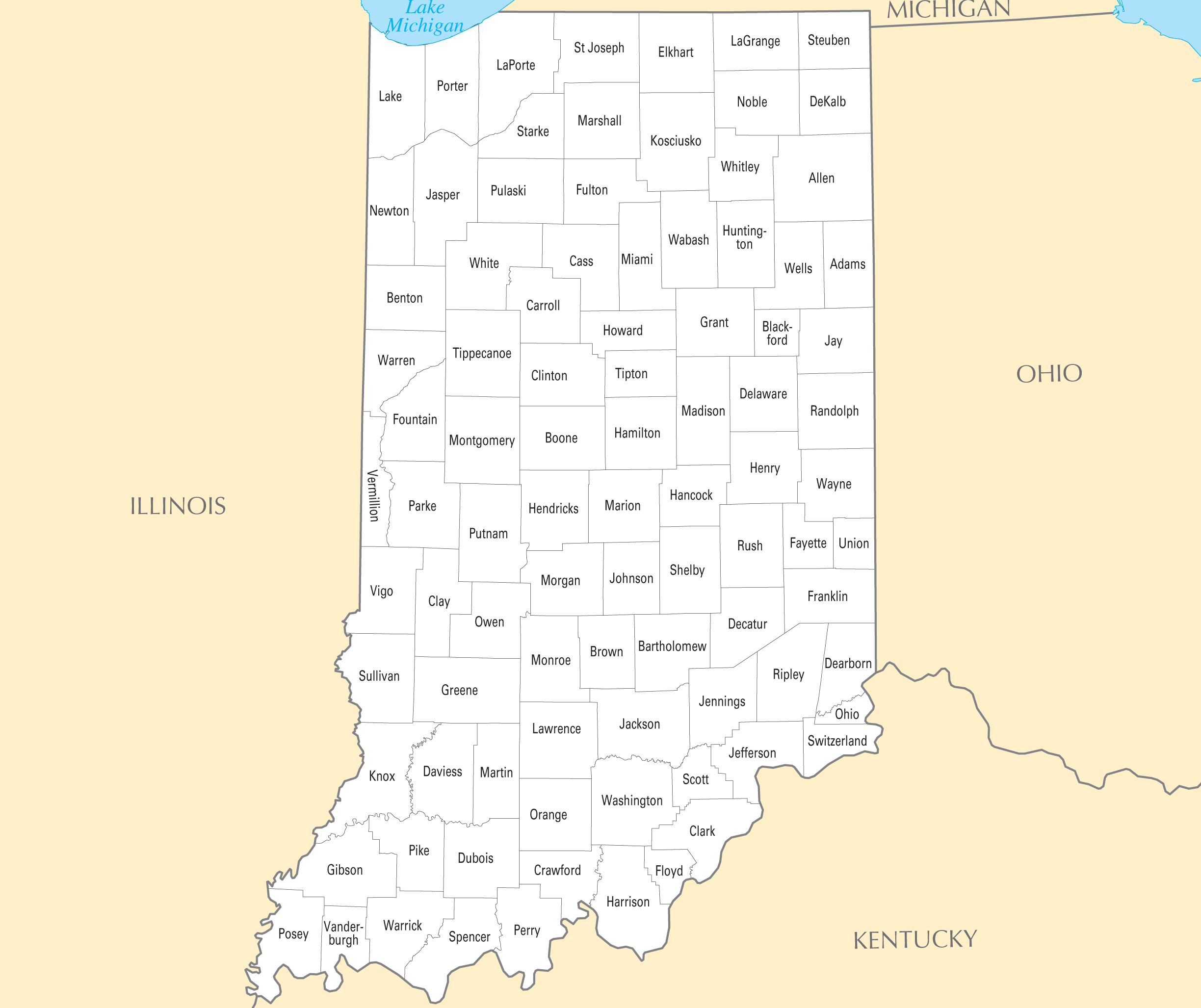 Indiana County Map Mapsofnet - Map of indiana cities