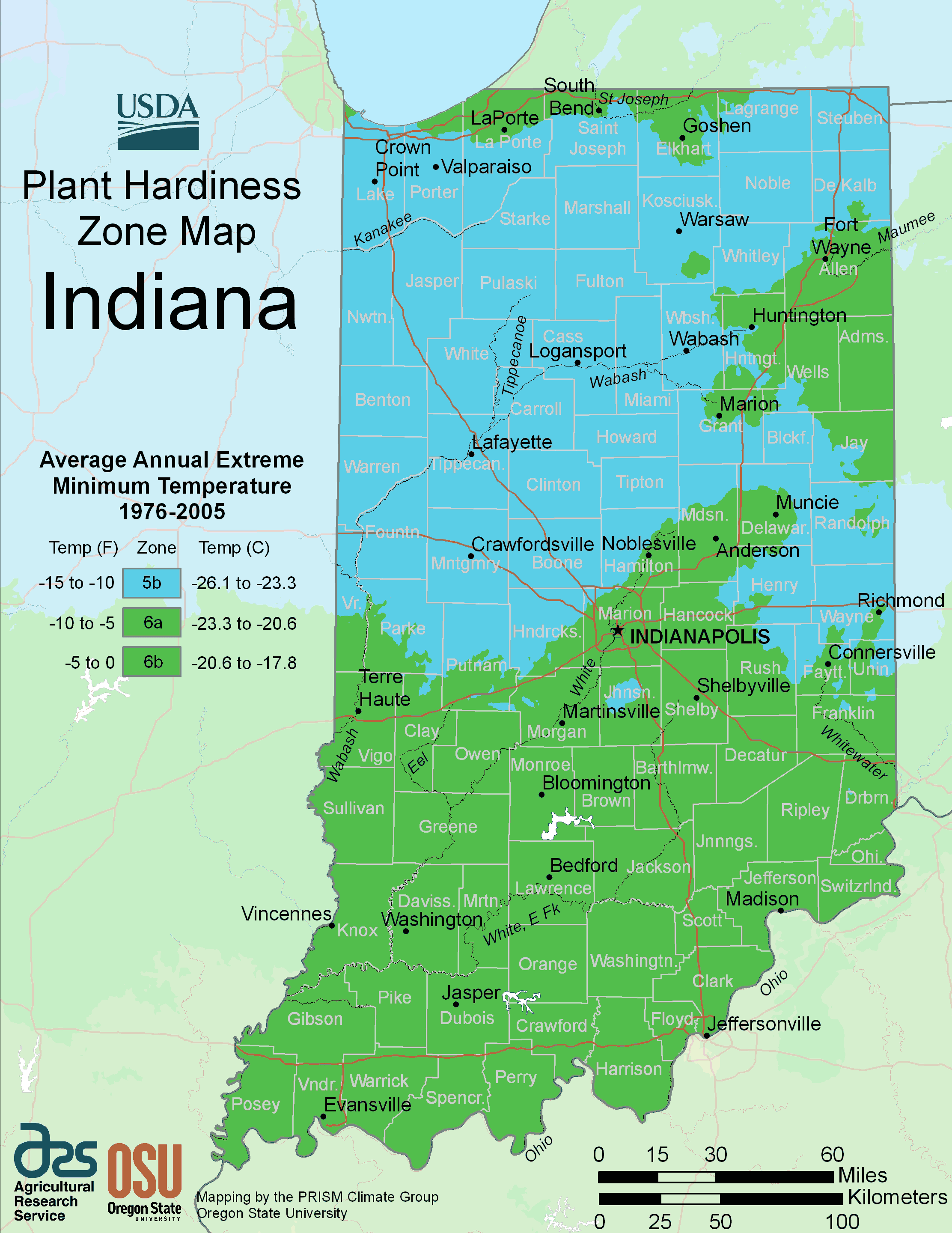 Indiana Plant Hardiness Zone Map Mapsofnet - Indiana map of usa