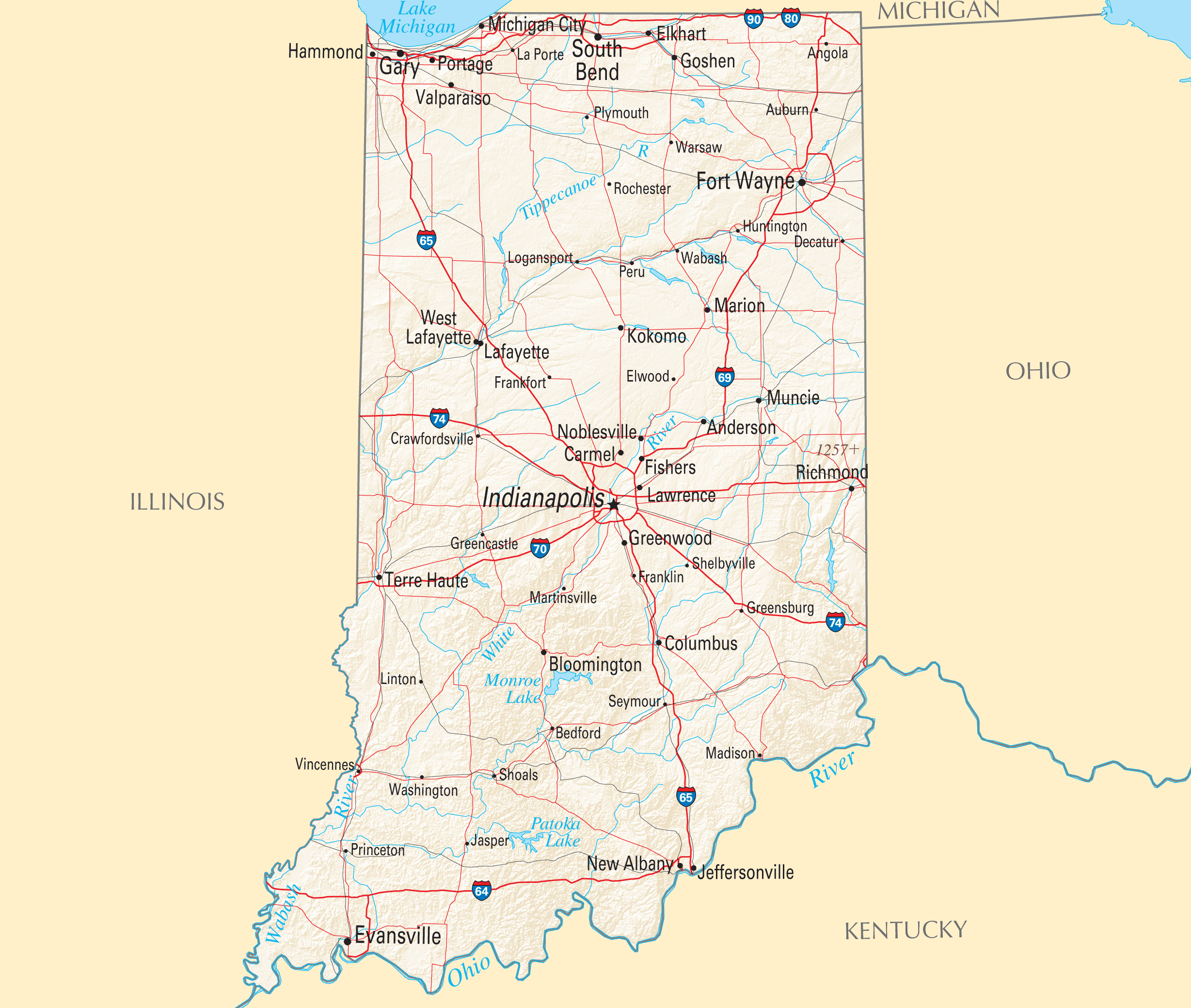 Indiana Cities And Towns Mapsofnet - Indiana maps with cities