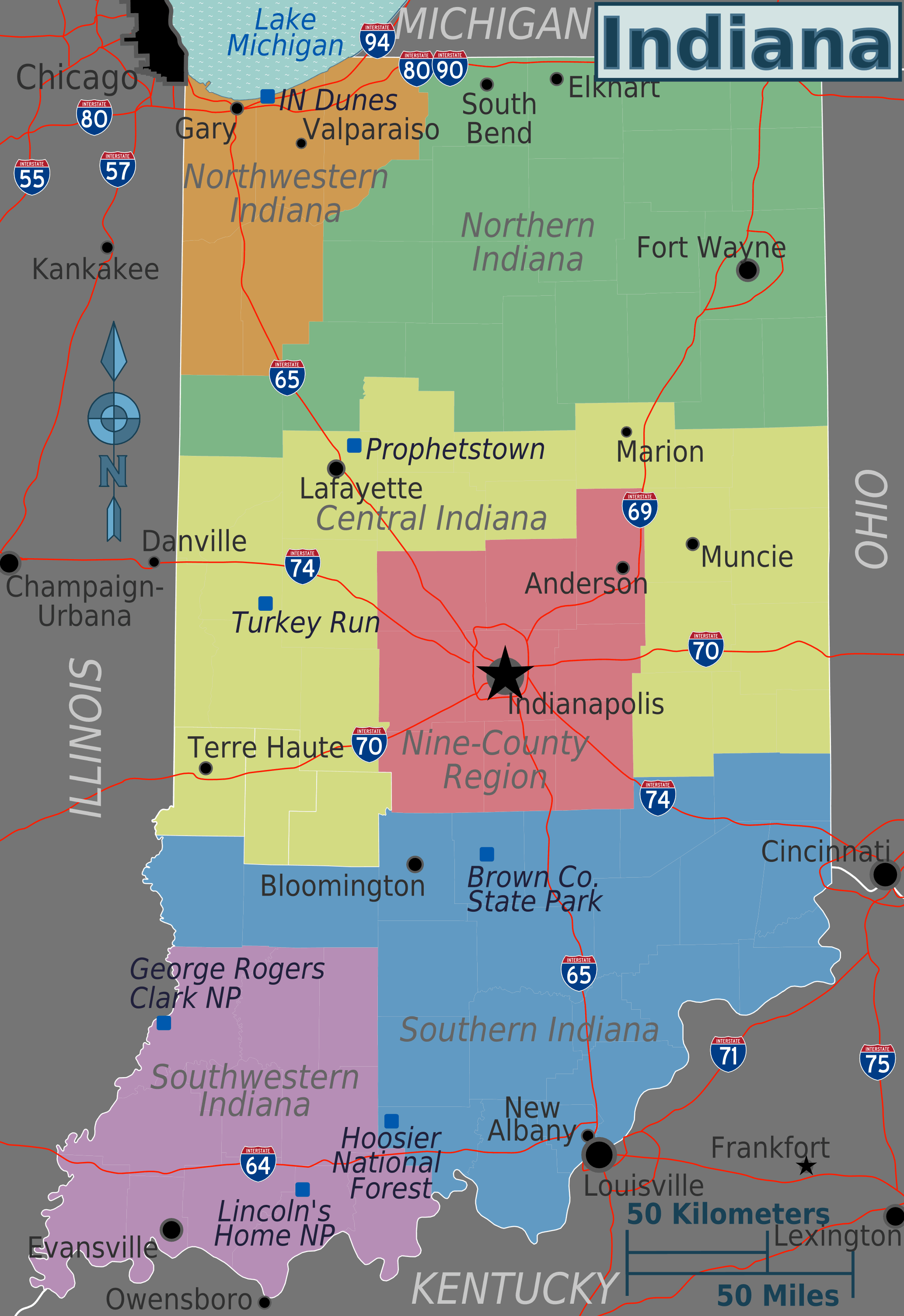 Indiana Regions Map large map