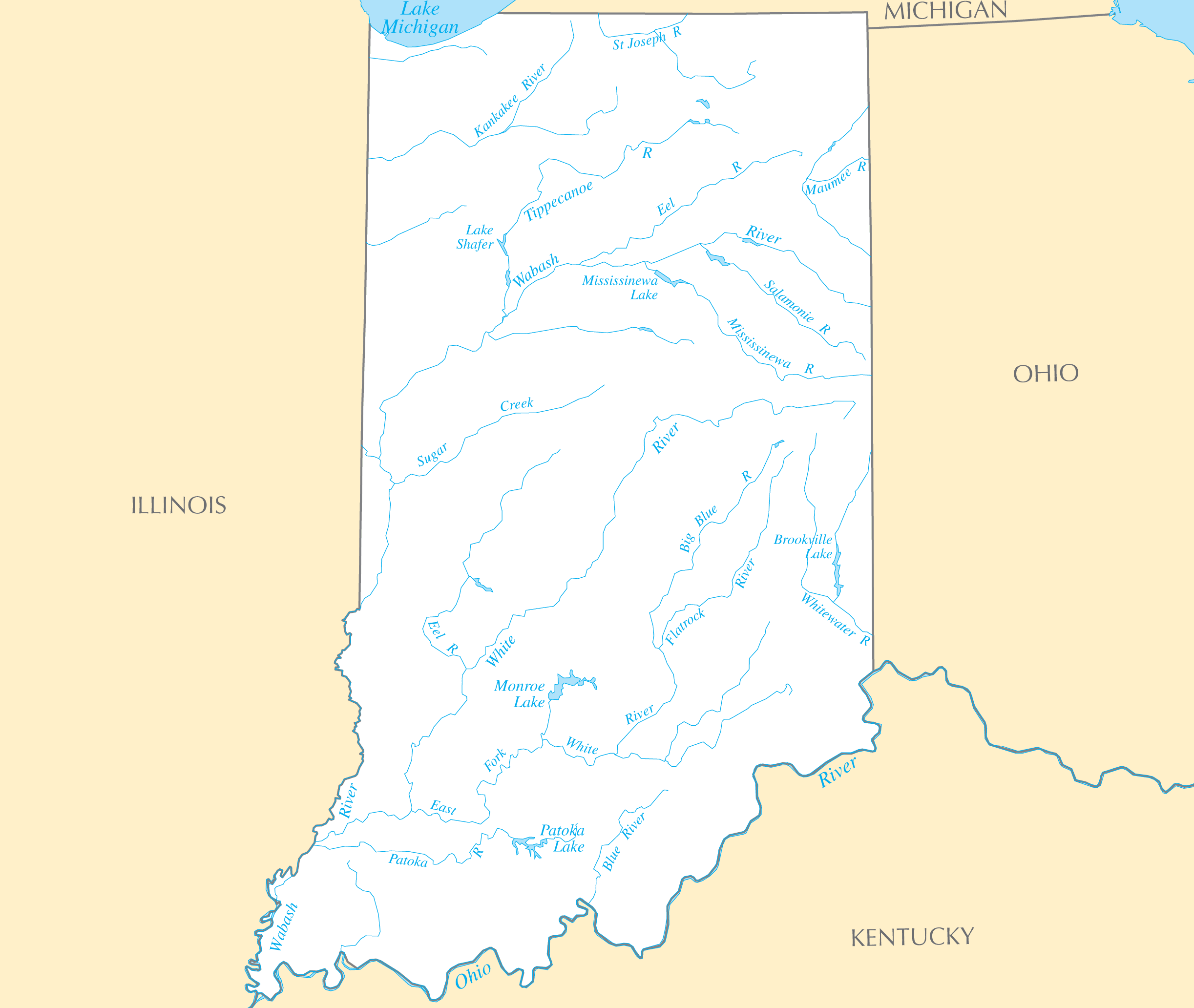 Image Gallery Indiana River Map