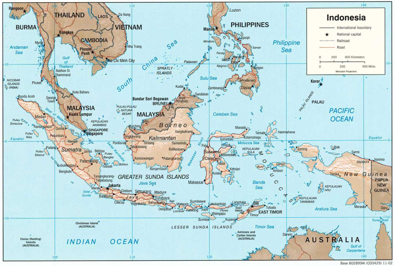 Indonesia 2 large map