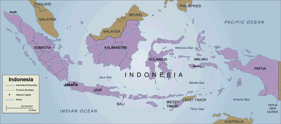 Indonesia Country Map large map