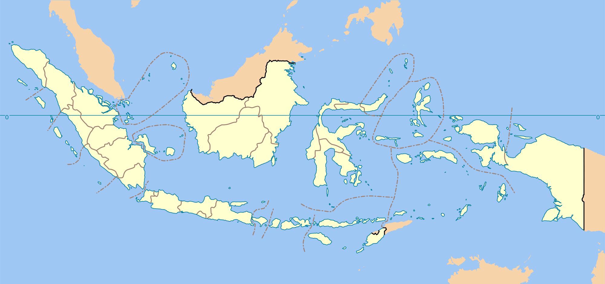Indonesia Provinces Blank Map large map