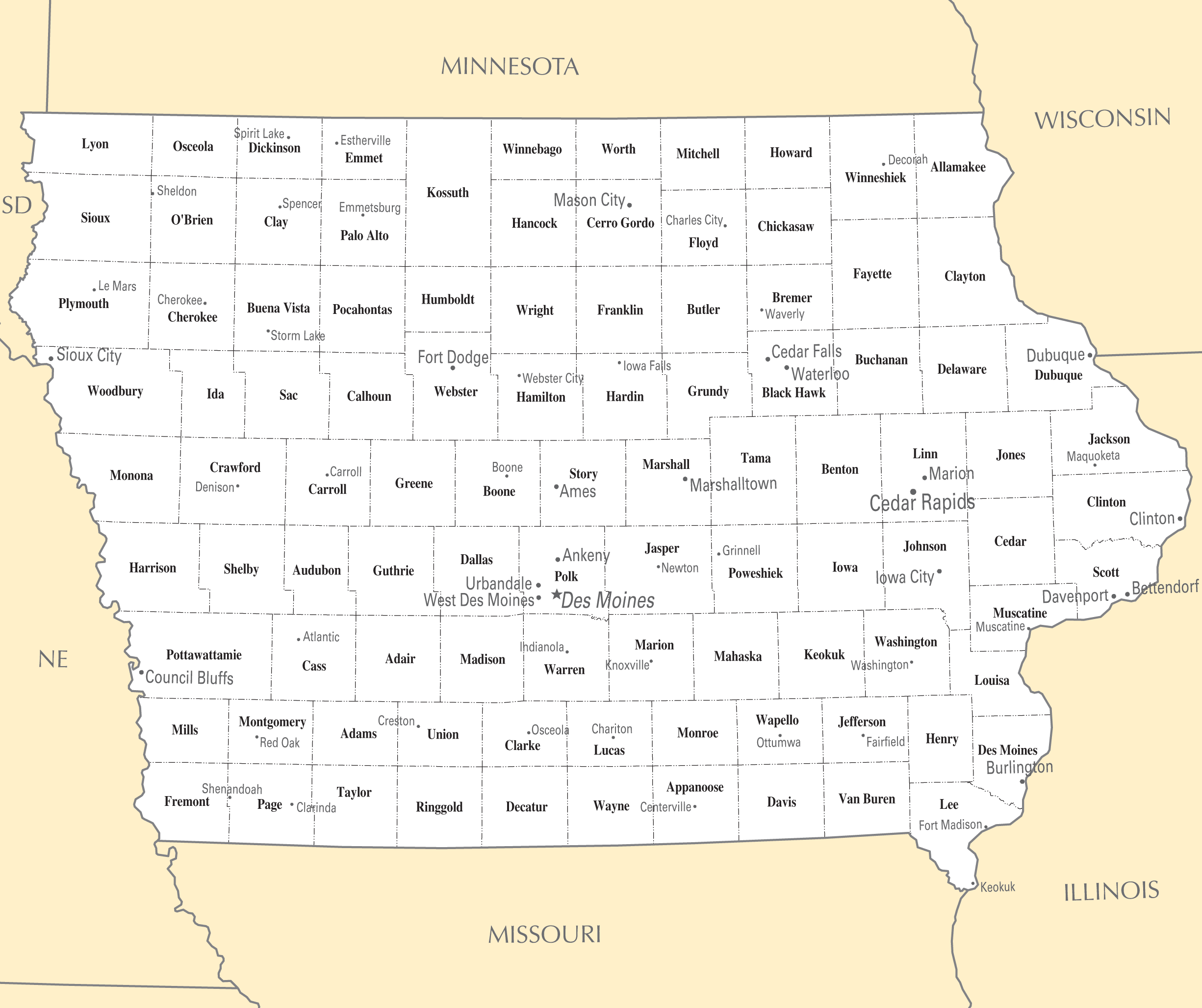 Iowa Cities And Towns Mapsof Net