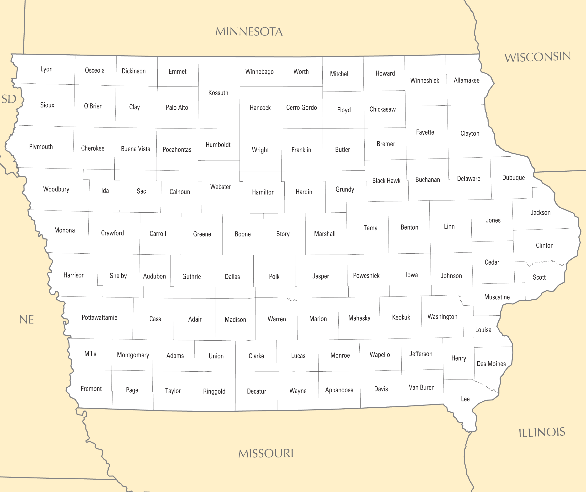 Iowa County Map Mapsofnet - Map of iowa counties