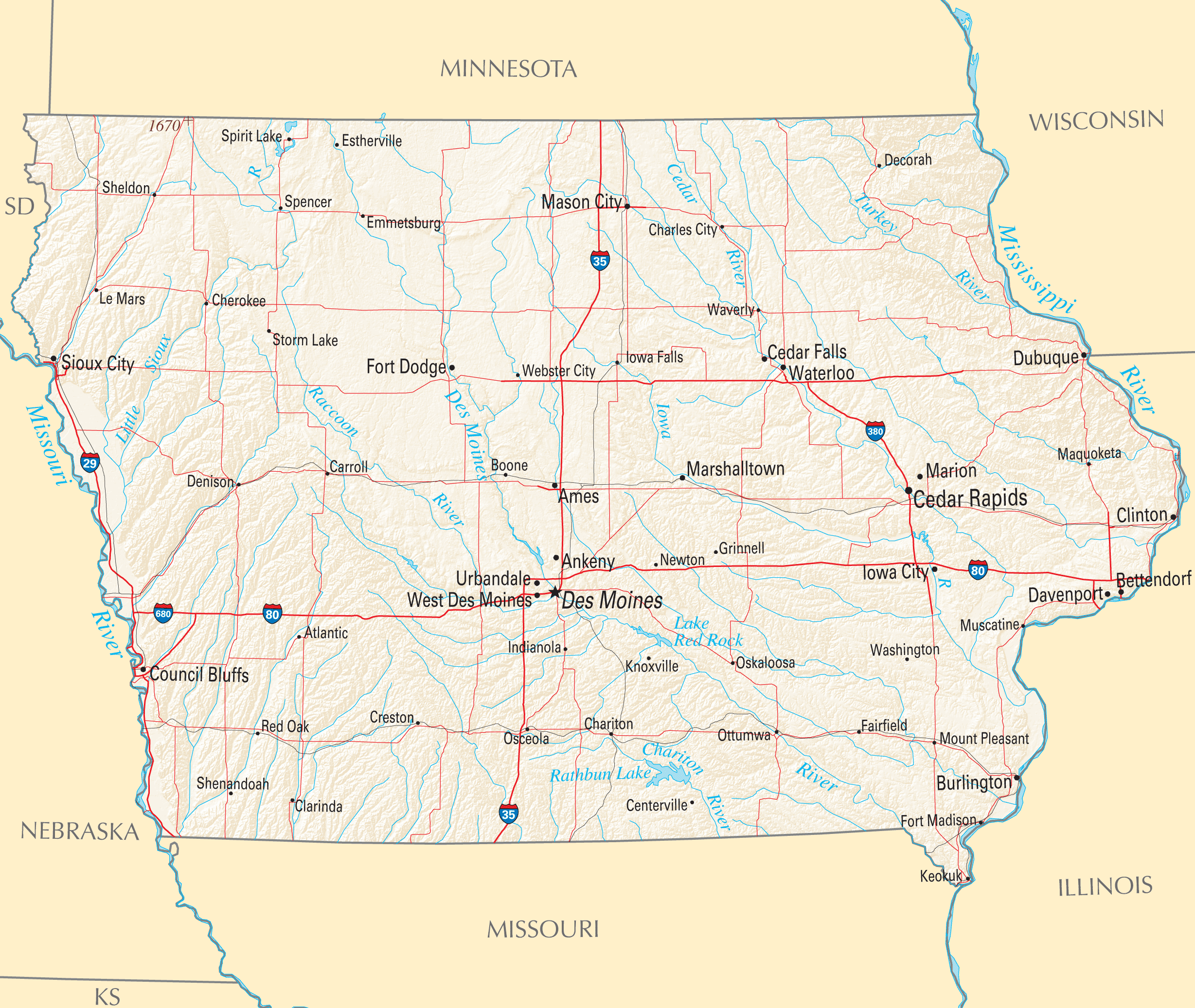 Iowa Reference Map Mapsof Net