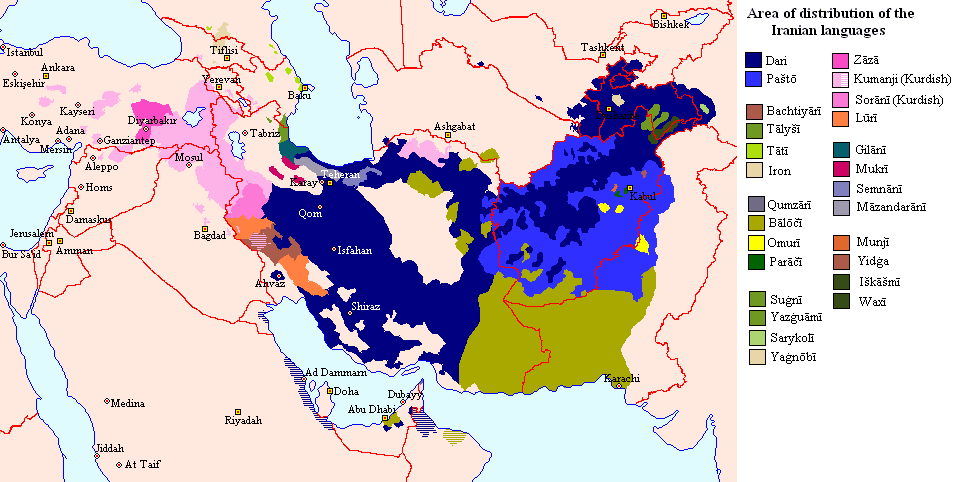 Iranian Languages Area large map