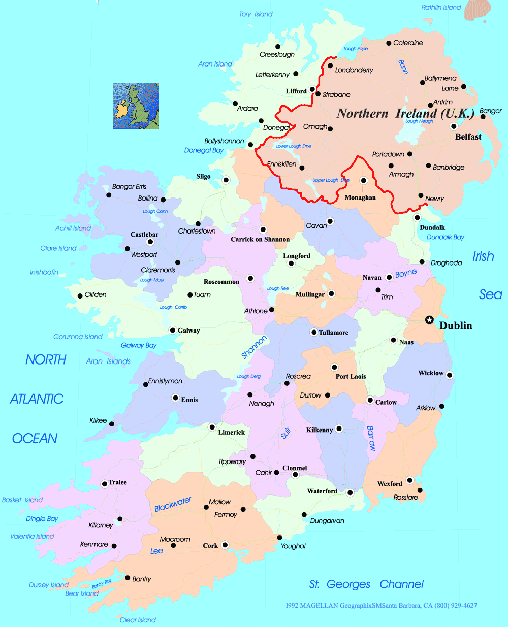 Map Of Ireland Islands.Ireland Political Map Mapsof Net
